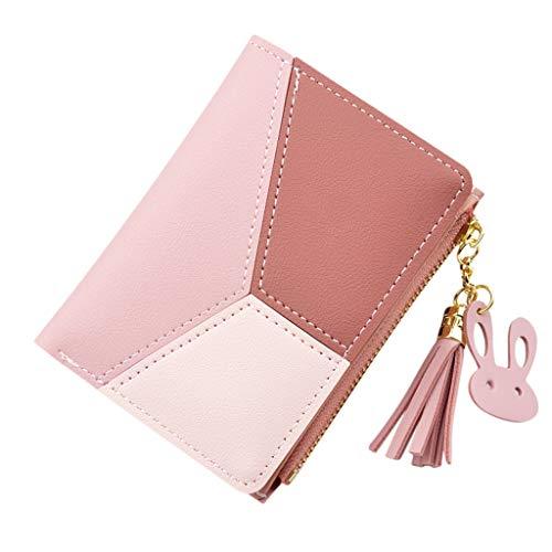Women's RFID Stops Wallet Cardholder With Zip Wallet Purse Coin Purse Card Holder with Key Chain Tassel Zip,Pink ()