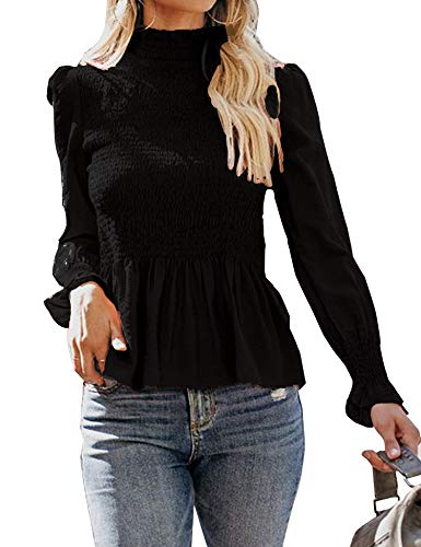 Relipop Women's Blouse Long Bell Sleeve Turtleneck Smocking Casual T-Shirt Pullover Tops ()