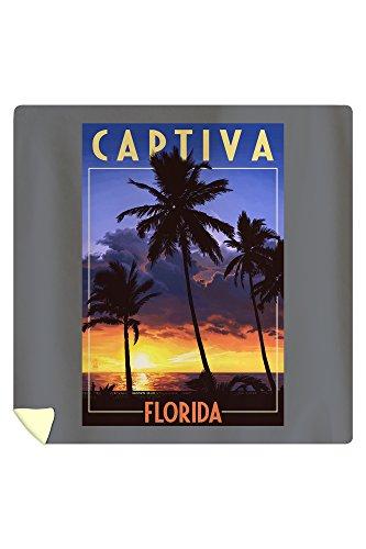 Lantern Press Captiva, Florida - Palms and Sunset 45300 (88x88 Queen Microfiber Duvet Cover)