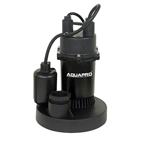 - AQUAPRO 1/4-HP Thermoplastic Submersible Sump Pump with Tethered Float Switch, 3450 GPH