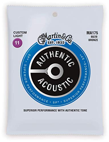 Martin Authentic Acoustic Guitar Strings, Superior Performance Extra Custom Light