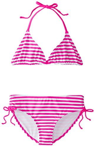 (Kanu Surf Big Girls' Alexa Beach Sport 2-Piece Bikini Swimsuit, Bali Pink Stripe, 10)