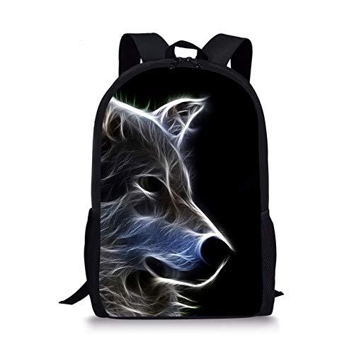 ThiKin Cute Wolf Print School Backpack For Boys Girls School Book Bags