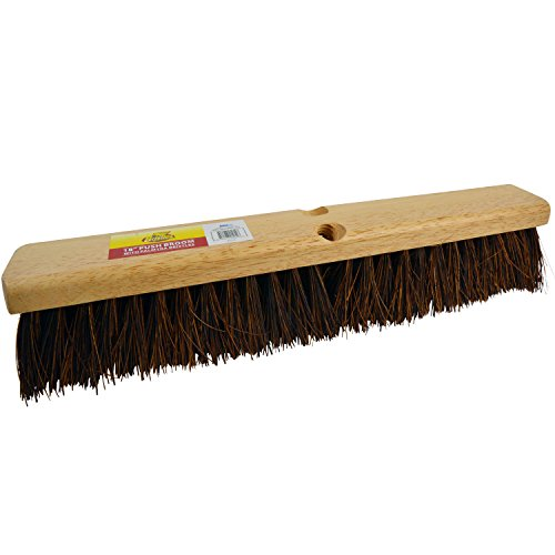 "Palmyra Broom - Bristles 4218 18"" Outdoor Push Broom Head – Heavy Duty Hardwood Block, Rough Surface Stiff Palmyra Fibers, Brown"