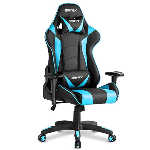 "Merax PP033082CAA Gaming High Back Computer Ergonomic Design Racing Chair L X 21.7"" W X52.4 H, Blue"