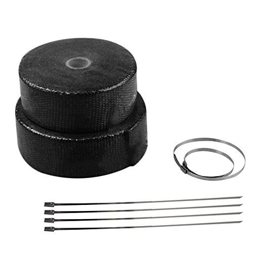 Black Roll Fiberglass Cloth Exhaust Header Pipe Heat Wrap Tape+6 Ties Kit Reduce Under-hood Temperature About 50%-70%