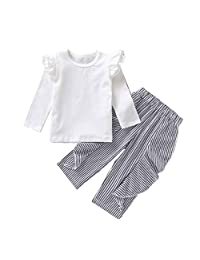DRAGONHOO Toddler Kids Baby Girls Long Sleeve Frill Solid Tops+Stripe Frill Pants Outfit Outfits