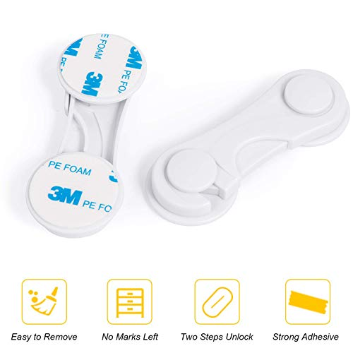"""41QHJ%2BtC2KL kiniza 10 Pieces 4"""" Child Safety Cabinet Locks,Proofing Cabinet Locks for Baby with Strong Adhesive Tape, Easy to Install Protection Lock for Cabinets, Drawers, Fridge, Oven, Appliances, Toilet Seat    Child safety protection: This child safety protection lock can prevent the baby's fingers from being hurt by the cabinet door or the dangerous objects in the cabinet, and protect the family cleanliness and prevent children from picking up items. Children have no chance to get sharp and dangerous objects in the kitchen, such as knives and scissors. This can fully protect children from harm.Simple operation: Unique buckle design of the non-drilling safety lock can be unlocked by pressing the button and turning clockwise, and then turning counterclockwise to lock. It is easy for adults to open it with one hand, but for children It is difficult to unlock it. It is difficult for infants to open it, which can prevent children from opening the cabinet.Wide range of applications: Baby locks are widely used, which can protect children or pets from danger and prevent pets from stealing food. It is very suitable for all the cabinets in the family such as refrigerators, cabinets, drawers, washing machines, bathroom windows and so on.Safety material: Baby safety cabinet lock is made of durable and safe ABS material, non-toxic, even if the child bites with his mouth, it will not harm the child's health. The back uses 3M super glue to ensure strong adhesion, easy installation and removal Does not damage the furniture."""