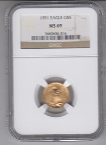 Certified Gold Coin - 1991 American Gold Eagle 1/10 Oz. Gold Coin $5 MS69 NGC