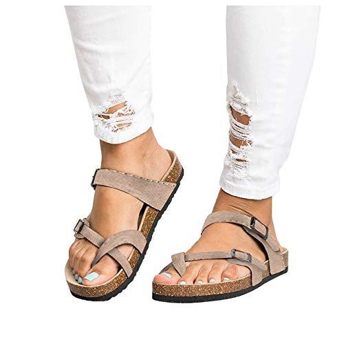 LAICIGO Women's Flip Flop Sandals Crisscross Slide Double Buckle Open Toe Cork Summer Flat Footbed