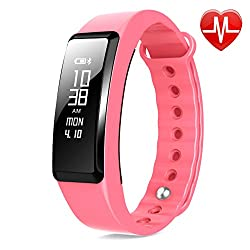 Beasyjoy Fitness Tracker with Heart Rate Monitor Smart Band Pedometer Wristband Waterproof Sport Bracelet Run or Walk Step Counter Tracking (Pink)