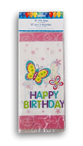 Greenbrier Happy Birthday Butterfly Cellophane Treat Bags with Twist Ties - 25 (Butterfly Cellophane)