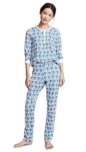 Monkey Print Pajama - Roller Rabbit Women's Monkey PJ Set, Blue, X-Small