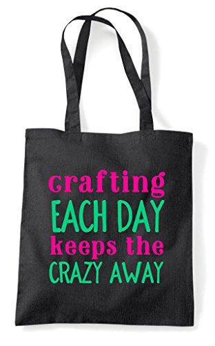 Each Crafting Craft Statement Day Bag Crazy Keeps Shopper Tote The Black Away 4dwUHSqRdx