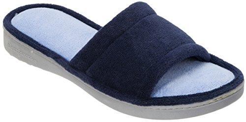 Dearfoams Pantofole Da Donna Colorblock Pantofole Scivolate Blu / Grigio