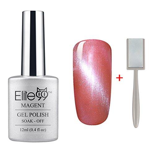 (Elite99 Magnetic 3D Cat Eye Gel Polish Soak Off UV LED Nail Art Manicure Varnish Free Magnet 9927 Pink with White Eye)