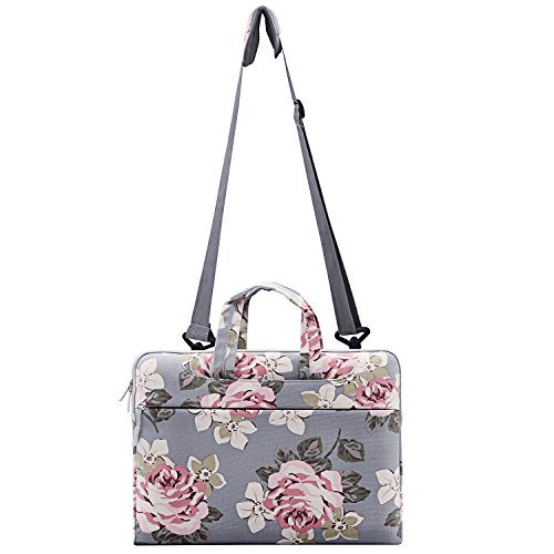 MOSISO Laptop Shoulder Bag Compatible 13-13.3 Inch MacBook Pro, MacBook Air, Surface Book, Notebook Computer, Canvas Rose Pattern Laptop Shoulder Messenger Handbag Case Cover Sleeve, Gray by MOSISO (Image #6)