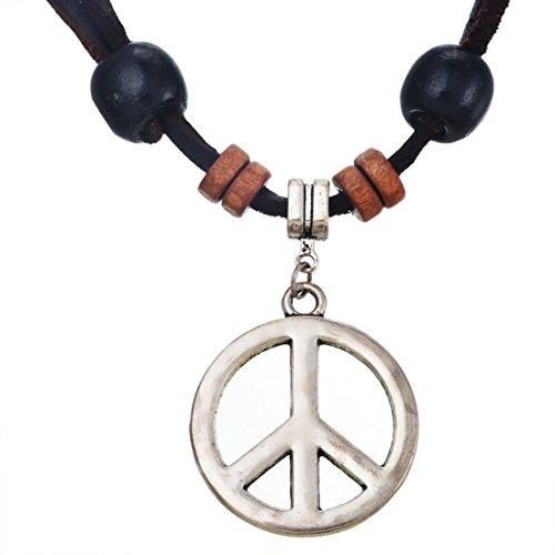 MJARTORIA Vintage Style Adjustable Peace Symbol Pendant Brown PU Leather Cord Necklace (Peace Pendant Necklace)