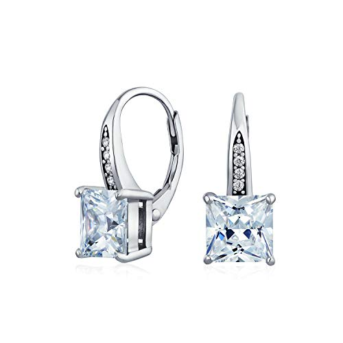 2CT Solitaire Cubic Zirconia Princess Brilliant Cut Square Pave CZ Drop Leverback Earrings For Women Sterling Silver
