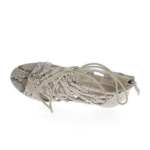 ChaussMoi Sandales Montantes Taupe Serpent à Talon Fin DE 9,5cm à Lacets