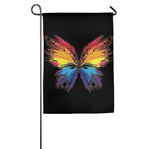 HUVATT Colorul African Buttlefly Garden Flag Indoor & Outdoor Decorative Flags for Parade Sports Game Family Party Wall Banner 12 x 18 inch -
