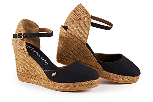 Made Black strap in Spain ankle Classic Closed nbsp;cm Satuna Espadrilles Heel toe cuneo 7 6 Viscata 6O1x7nZBwO