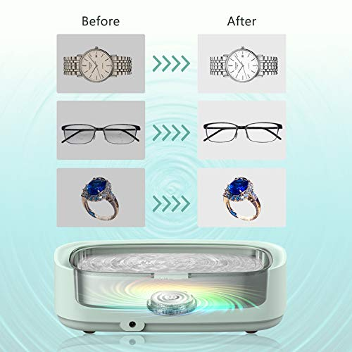 Venussar Ultraschallreinigungsgerät, 300ml Ultraschallreiniger, Mini Ultraschallreinigungsgerät Brille Uhren Schmuck Ringe Halsketten Zahnprothese