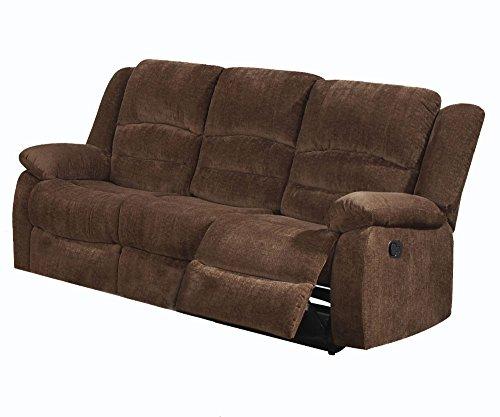 (ACME Bailey Dark Brown Chenille Reclining Sofa)
