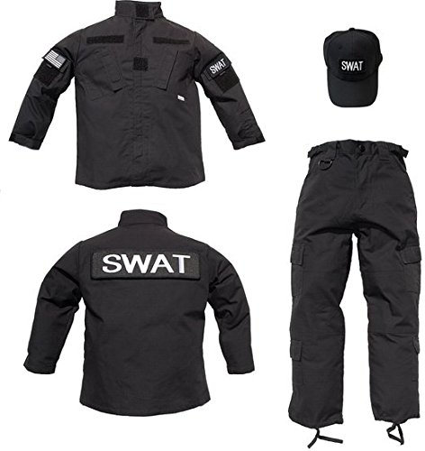Trooper Kids 3 pc Black Tactical SWAT Uniform (S) (Swat Vest Paintball)