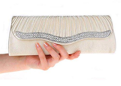 ISHOW para mujer racionalizar Beaded plisado seda bolsos de boda sobres albaricoque