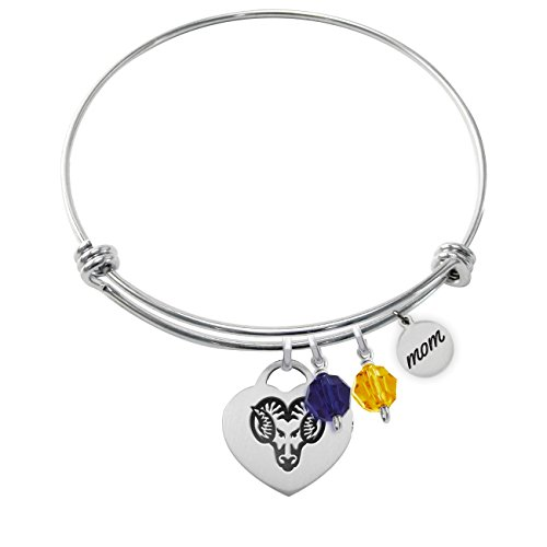 College Jewelry West Chester University Golden Rams Adjustable MOM Bracelet with Heart Charm