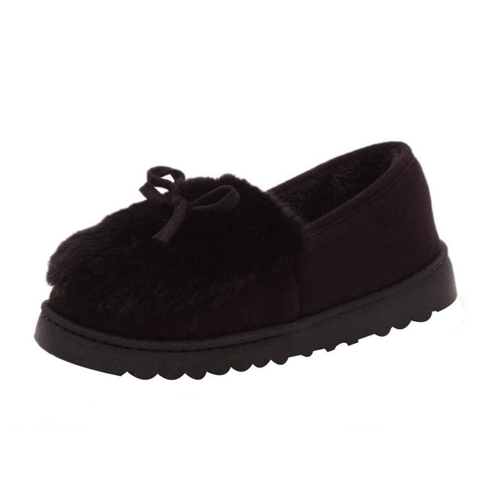 Daytwork Boots Chaussures arc Femme Hiver Noir - Mode Bottes de Neige Faux Daim à Fourrure Cheville Chausson Chaussons Antidérapant Bottines Noeud d arc Boots Noir 58f8da3 - shopssong.space