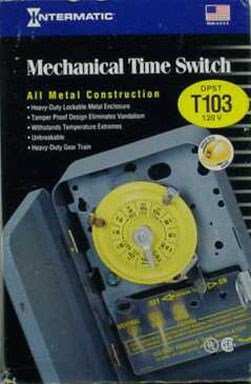 Intermatic T103 120-Volt DPST 24 Hour Mechanical Time Switch