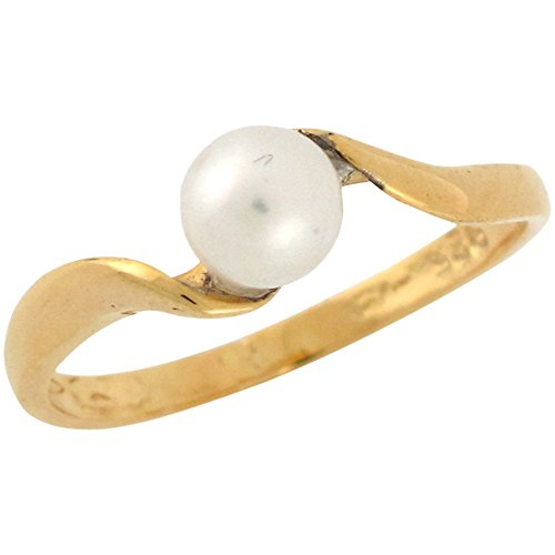 10k Yellow Gold Cultured Pearl Simple Classic Design Ladies Bypass Ring - 10k Pearl Ring