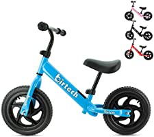 Balance Bike for Kids Toddlers 12 inch No Pedal Training Bicycle Lightweight Carbon Steel Frame with Adjustable...