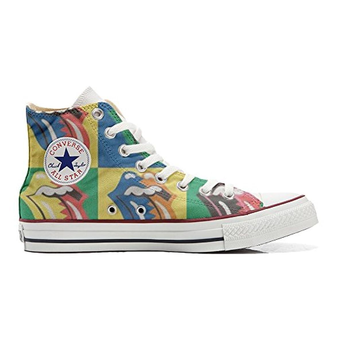 Scarpe Converse All Star Alte Personalizzate scarpe Artigianali Rolling Stones