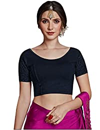 CRAZYBACHAT Crazy Bachat Women's Readymade Indian Designer Net Sleeves Stretchable Blouse for Saree Crop Top
