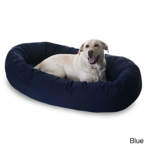 Large 1 Piece Blue Navy Color 40 Inches Bagel Style Donut Plush Pet Bed Dog Puppy Doggy Animal Four Legged Superbly Beautiful Water Proof Soft Cozy Luxurious Comfortable Easy Feel Relax