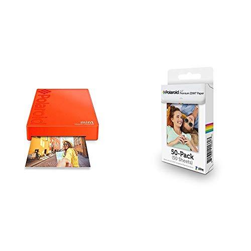 Polaroid Mint Wireless Mobile Photo Mini Printer (Red) with Polaroid 2x3ʺ Premium Zink Zero Photo Paper 50-Pack