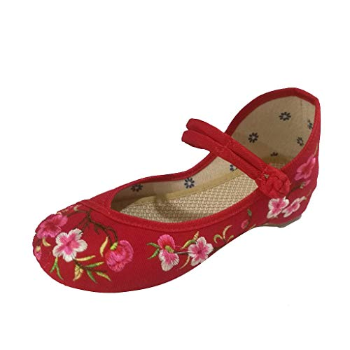 Casual Flat Comfy Embroidered Cloth Shoes - FAPIZI Womens Spring Summer Peach Blossom Buckle National Wind Sandals ()