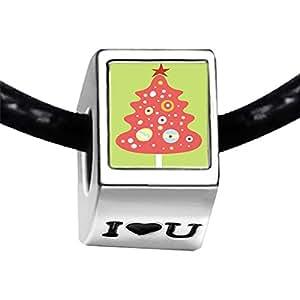 Chicforest Silver Plated christmas tree Photo I Love You Charm Beads Fits Pandora Biagi Troll Chamilia Kay's Beads Charms