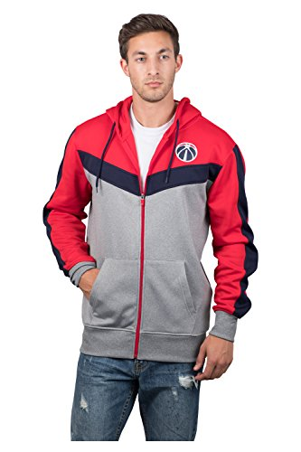 fan products of NBA Men's Washington Wizards Full Zip Hoodie Sweatshirt Jacket Contrast Back Cut, XX-Large, Red