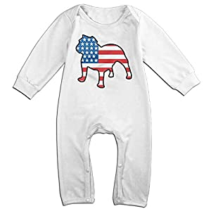 VGG&FDS Unisex Toddler Baby Rompers English Bulldog American Flag Bodysuits Playsuit Coveralls