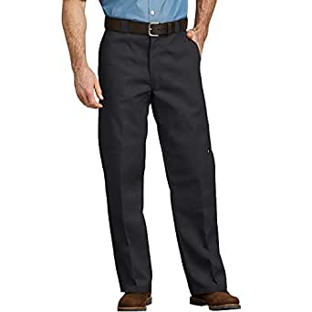 dickies Men's Loose Fit Double Knee Twill Work Pant, Black, 30x34