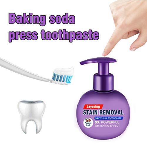 Baking Soda Stain Removal Whitening Toothpaste,Fight Bleeding Gums Fresh Toothpaste,Teeth Whitening Gel Toothpaste, Natural, Vegan, Paraben-Free, Anti-Cavity, Fluoride Free (Passion Fruit Flavor)