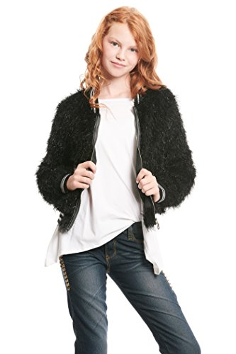 Truly Me, Big Girls Outerwear Bomber Jackets (Many Options), 7-16 (12, Black Faux Fur)