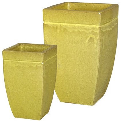 Square Tapered Ceramic Planters - Sunflower Yellow (set of 2) by Emissary