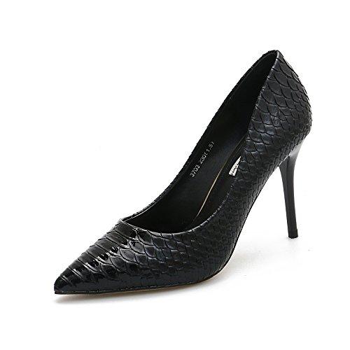 KHSKX-La Caída De La Nueva Piel De Serpiente Zapatos De Tacon 9 5 Cm Señaló Con Un Fino Negro Zapatos Boca Superficial Todos Coinciden Con Temperamento Treinta Y Siete Thirty-four