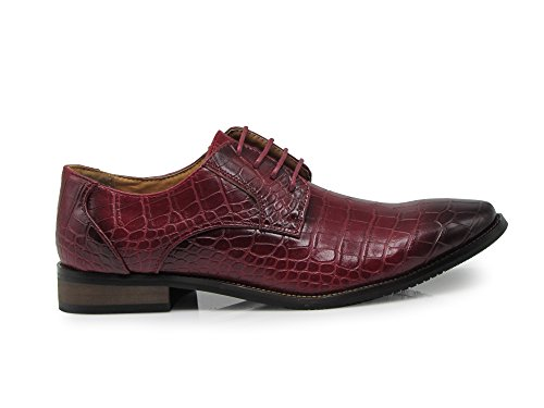 Enzo Romeo DF01 Men Dress Loafers With Alligator Prints Lace up Oxfords Patent Dress Shoes Burgundy L24RB9gvQ5