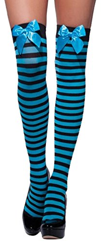 [Fever Women's Striped Opaque Hold-Ups with Bows, Blue and White Stripes with Blue Bows, One] (Hippo Costume Uk)